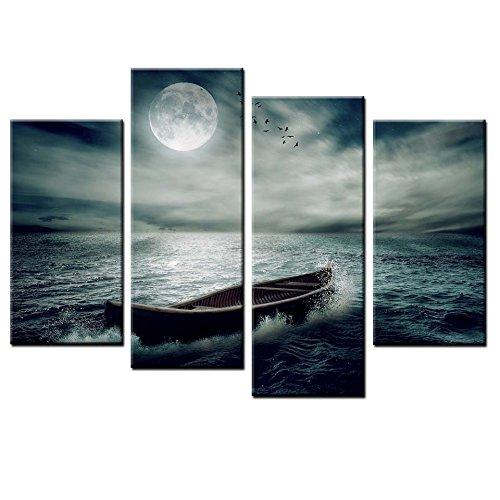 TLYMTD Kunstdrucke Auf Leinwand 4-Teilig Vlies Leinwanddruck Kunst, Mond Und Meer Landschaft Bilddruck, Malerei Künstler Wohnzimmer Dekoration 120X80Cm
