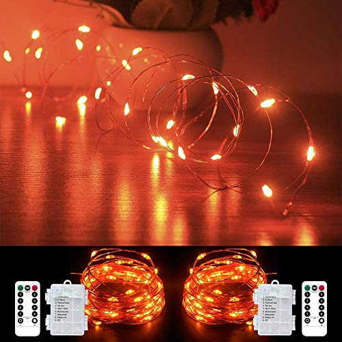 Orange Fairy String Lights Battery Operated ,2 Pack 33ft 100 LED Waterproof Orange Halloween Twinkle Firefly String Lights with Remote& 8 Lighting Modes Indoor Outdoor Christmas Patio Party Decor