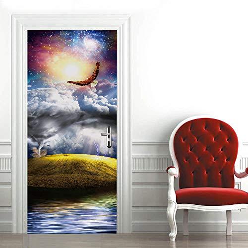 Etiqueta de La Puerta 3D Águila volando PVC Etiqueta de La Pared para la Decoración del Hogar Plantilla de la Pared para la Sala de Estar Dormitorio Cocina Fondo