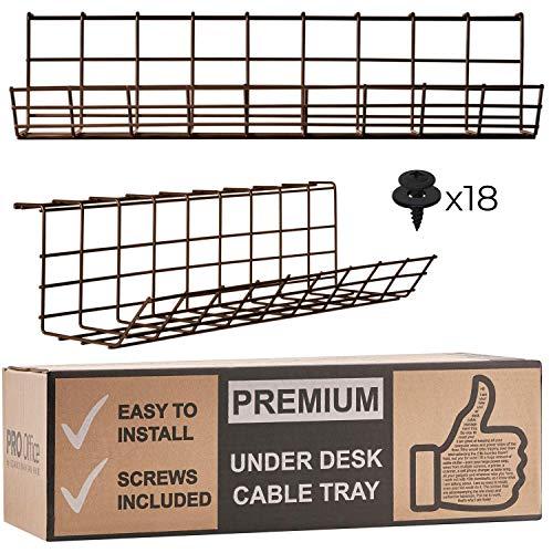 Scandinavian Hub Kabelkanal für die Schreibtisch-Unterseite - Computer Kabel-Aufbewahrung zum einfachen Kabel-Management. Kabelkorb aus Metall für Zuhause und Büro (Braun - 2er Set 43cm)