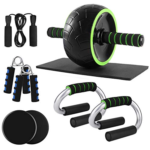 ODOLAND 6-in-1 Large Size AB Wheel Roller Set with Push Up Bars Gliding Discs Jump Rope Hand Exerciser Knee Pad, Home Gym Workout Set for Body Training …