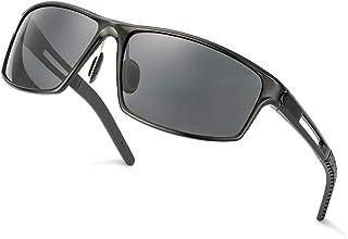 TJUTR - Gafas De Sol Hombre Deportivas Espejo Polarizadas Anti Reflectante Ultraligero Metal Protección 100% UVA UVB