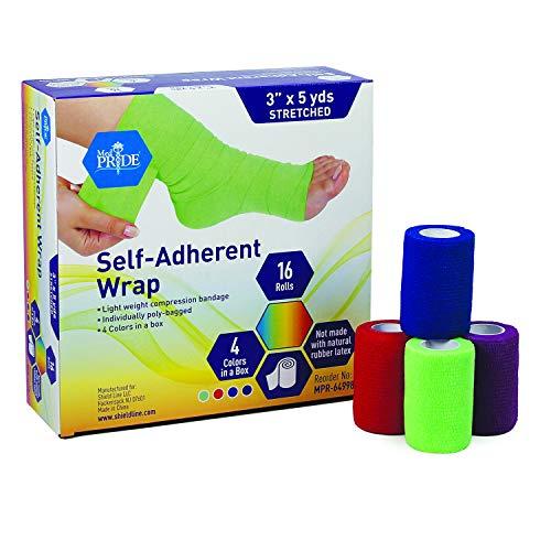 Medpride Self Adhesive Bandage Wrap (16 Rolls) - Athletic Flex Tape First Aid Bandages - Self Adhering Knee Ankle Wrist Bandage Wraps - Cohesive Elastic Flexible Breathable - 3''x 5 Yards – 4 Colors