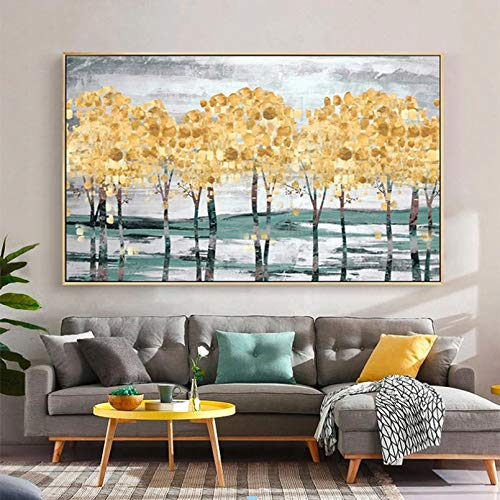 N/A Pittura su Tela Stampa Golden Tree Forest Pictures Autumn Landscape Canvas Painting Modern Decoration Wall Art for Living Room No Frame Casa Muro Decorazione Regalo