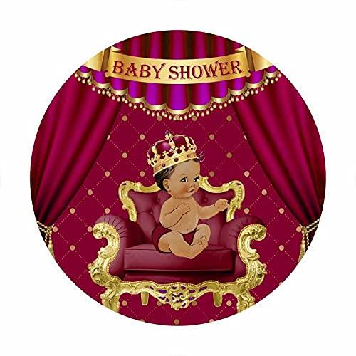 Leowefowa 2,2x2,2m Poliéster Baby Shower Telón de Fondo Redondo Bebita Telón de Fondo Rojo Corona de Princesa Cortina Fondos para Fotografia Fiesta Bebé Infantil Recién Nacido Props Photo Booth