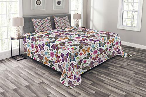 ABAKUHAUS Schmetterling Tagesdecke Set, Retro Style Ornament, Set mit Kissenbezügen Waschbar, für Doppelbetten 220 x 220 cm, Lila Magenta