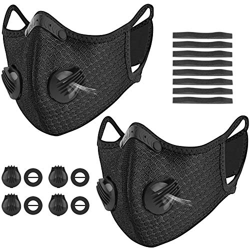 kungfuren 2 Sets Sports Facial Masks with Activated Carbon Filter Cycling Mask with 4 Breathing Valve and 8 Soft Foam Padding for Women Man Running