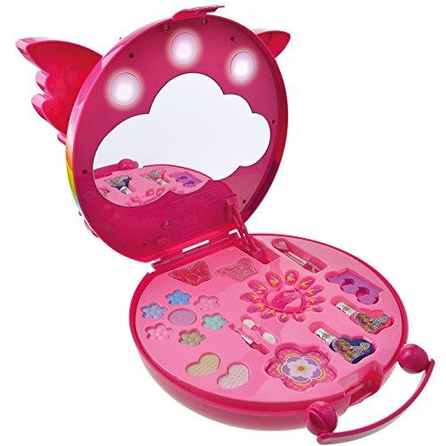 Schminkkoffer mit Licht und Spiegel Lidschatten Lipgloss Nagellack Mädchen Kinderschminke im Koffer pink Schminkset Kosmetik Palette Schminken Schminkstudio Beauty Make Up Spielzeug Schminke Nagel