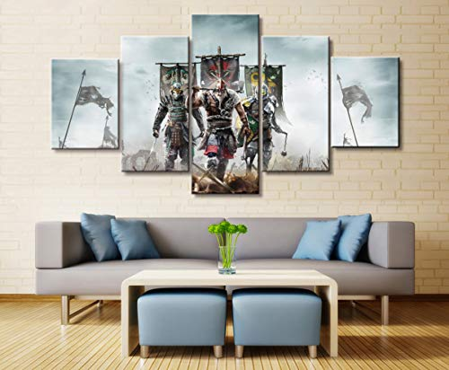 ZHMQQ 5 Cuadro sobre Lienzo Anime Ieces For Honor Game Comic Poster Wall Art Decorativo Modular Picture Canvas HD Impreso One Set Painting Impresiones En Lienzo