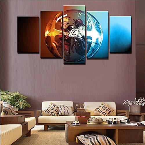 13Tdfc Moderne Wandbilder XXL Wohnzimmer Wohnkultur 5 teilige leinwandbilder XXL Kreatives Geschenk wanddeko Neuer Naruto-Kämpfer Malerei