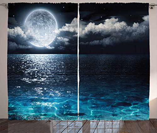 """Ambesonne Night Sky Curtains, Full Moon and Foggy Clouds with Turquoise Glass Like Sea Ocean Print, Living Room Bedroom Window Drapes 2 Panel Set, 108"""" X 84"""", Blue White"""