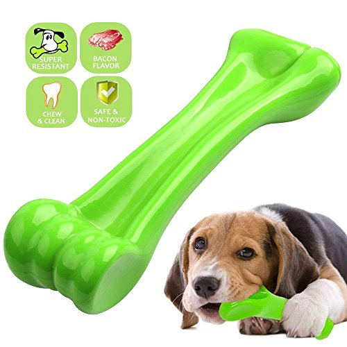 oneisall Dog Toys for Aggressive Chewers, Durable Dog Chew Bone, Indestructible Dog Toy for Puppy Teeth Cleaning, Interactive Training Toys Bacon Flavor M