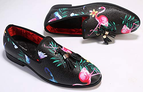 ELANROMAN Men's Handmade Tassels Loafers Luxury Party Wedding Shoes