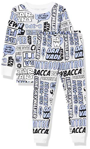 Amazon Essentials Disney Marvel Princess Snug-Fit Cotton Pajamas Sleepwear Sets, 2-Piece Star Wars Purple Comic, 8 años