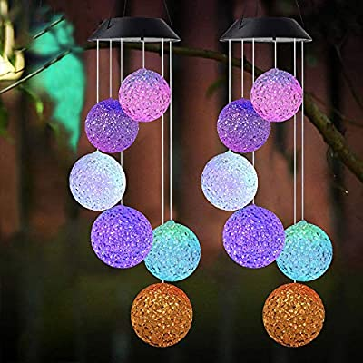 Wind chimes Color Changing Solar Power Wind Chime Crystal Ball Wind chimes Mobile Portable Waterproof Outdoor Decorative Romantic Wind Bell Light for Patio Yard Garden Home (2 pack Crystal Ball)