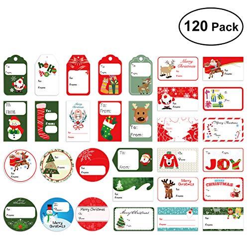 Amosfun120 etiquetas de regalo,calcomanías de regalo de Navidad.