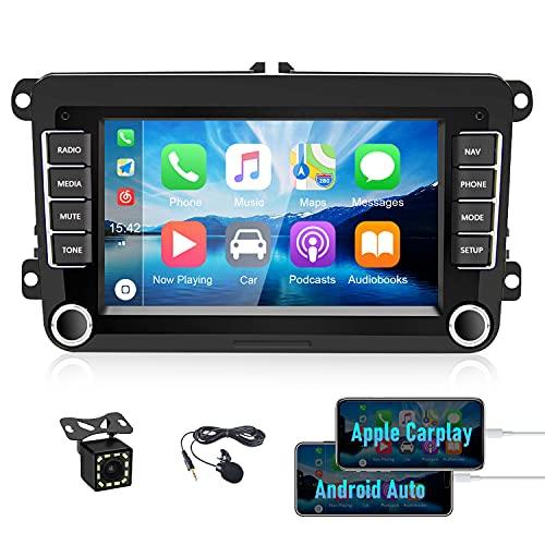 CAMECHO Android 2 DIN Autoradio Bluetooth Coche para VW GPS con Carplay/Android Auto WiFi FM/RDS 7 Pulgadas Pantalla Táctil para Touran Tiguan Seat Golf Altea + Micrófono Externo + Cámara Trasera