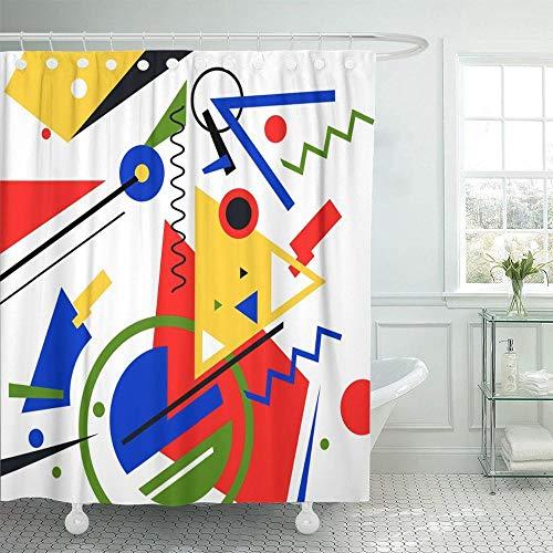 MNIAHGFQW DuschvorhangBlaues Muster Abstrakte Moderne Malerei in Mondrian Buntes Bauhaus Wasserdichter Duschvorhang aus Polyestergewebe 60 x 72 Zoll