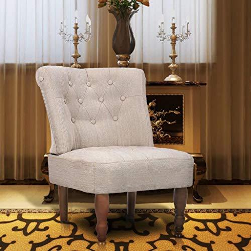 vidaXL Sillón de Estilo Francés Chesterfield Elegante de Tela y Color Crema