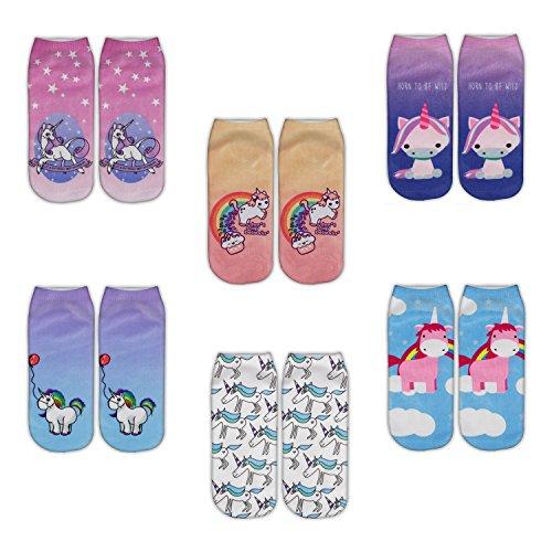 Zmart 6 Pack Women Girls Funny Novelty No Show Unicorn Socks Christmas Gift