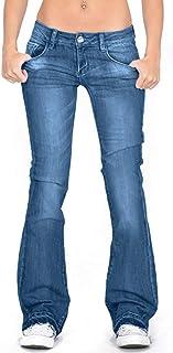 riou Pantalones Vaqueros de pierna ancha Mujer Slim fit Casual Pantalon de Mezclilla Alta Cintura Elásticos y Transpirable...