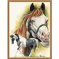 ダイヤモンド刺繍馬5Dクロスステッチダイヤモンド絵画ランドスケープラインストーンフルダイヤモンドモザイク動物セットフルラウンドドリルフレーム12x16