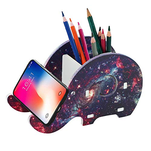 Hennaja Desk Supplies Organizer, Creative Elephant Pencil Holder With Phone Holder Desk Organizer Desktop Pen Pencil Mobile Phone Bracket Stand Storage Box Organizer(1 Pack,1-Star Night)