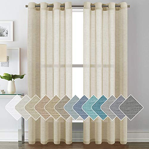 Linen Curtains Nickel Grommet Natural Linen Semi-Sheer Curtains, Privacy Added Premium Soft Rich Material Linen Curtain Panels for Living Room - 52x84 - Inch - Butter