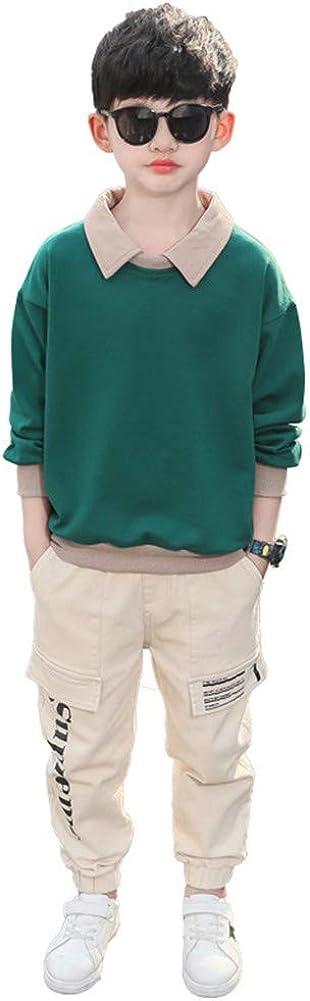 FTSUCQ Boys Contrast Color Turn-Down Collar Long Sleeve Sweatshirt Shirt Top Tracksuits Coat + Pants