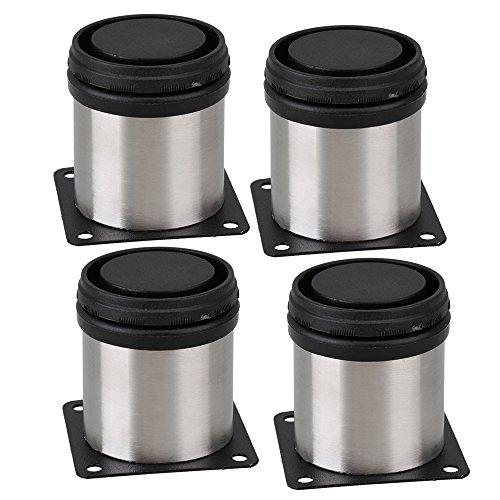 BQLZR verstellbares Metall runder Sockelbein für Regale Möbel Küche,schwarz / silber, 50 x 60mm, 4Stück