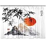 NYMB Japanese Bamboo Kitchen Window Curtains, Traditional Ink Painting Sun in Japan Fuji Mountains Curtains Panels, Kitchen Decorations Window Drapes, Window Treatment Sets with Hooks, 55X39Inches