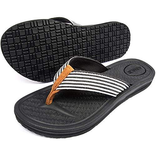 ZAIMA Confort El Ancho de Ancho del Ancho, Sandalias de Mango Deslizante Portador Negro Libre
