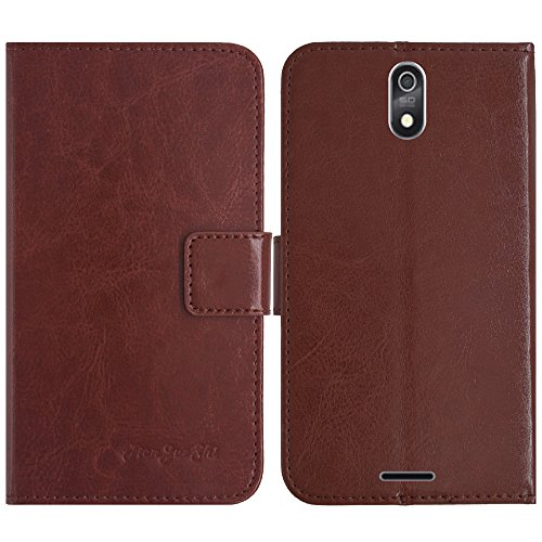 TienJueShi Brown Flip Book-Style Brief Leder Tasche Schutz Hulle Handy Hülle Abdeckung Fall Wallet Cover Etui Skin Fur TP-Link Neffos C5s 5 inch