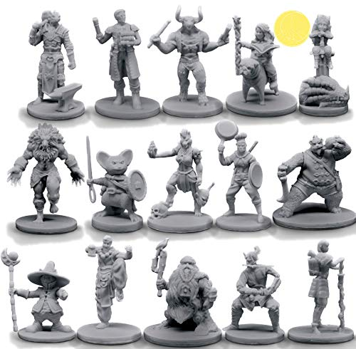 15 Character & NPC Miniatures for DND 28mm I for D&D Miniatures & Dungeon and Dragons Minis for D and D Tabletop RPG   Campaign Setting