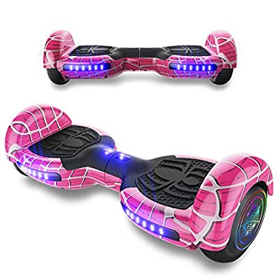 """TPS Hoverboard Self Balancing Scooter fo Adults and Kids 300W Dual Motor 6.5"""" Wheels Bluetooth Speaker LED Lights Self Balance Hoverboards Great Gift UL2272 Certified (Pink)"""