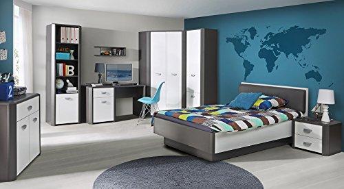 Jugendzimmer Set HEY Kleiderschrank, Bett, Nachttisch, Kommode, Bücherregal, Hängeregal (Bett ohne beleuchtung)