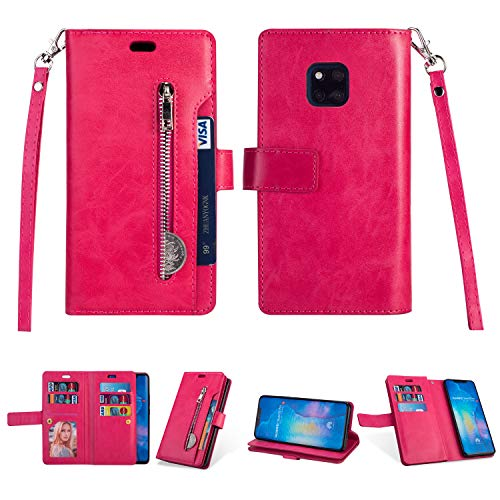 Yobby Reißverschluss Brieftasche Hülle für Huawei Mate 20 Pro,Huawei Mate 20 Pro Handyhülle,Slim Leder Flipcase [9 Kartefach] Magnetisch mit Stand und Handschlaufe Schutzhülle-Rose Rot