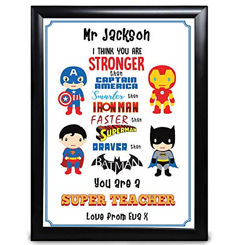 Regalo para profesor personalizado, eres un superprofesor con Capitán América, Iron Man, Superman, Batman, para fin de año de niños y estudiantes, niños o niñas de la escuela gracias