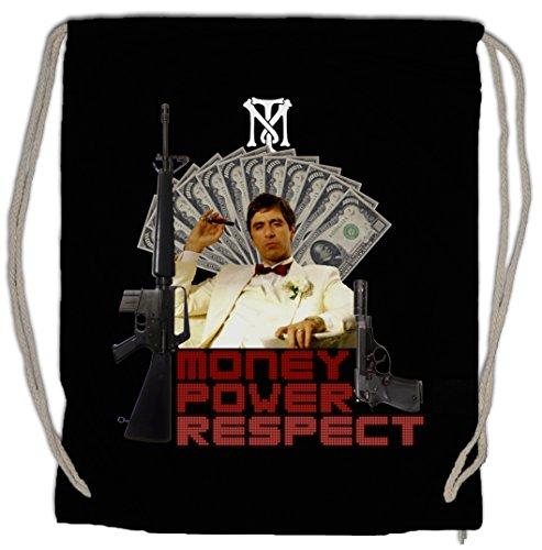 Urban Backwoods Money Power Respect Tony Montana I Bolsa de Cuerdas con Cordón Gimnasio TM Blow Mobster Gangster Cuba Kuba Mafia The World is Yours