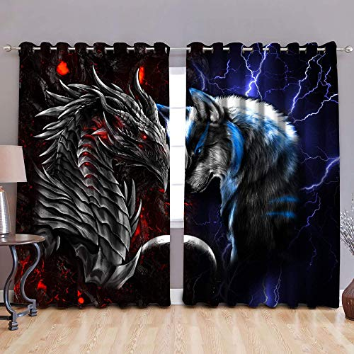 Red Dragon & Blue Wolf Grommet Window Curtain Drapes 3D Animal Pattern Window Drapes 2 Panels Curtains for Kid Adult Living Room Laundry Bedroom