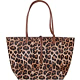 Humble Chic Reversible Vegan Leather Tote Bag - Oversized Top Handle Large Shoulder Handbag Purse for Women - XL Plus Size Lightweight Two-in-One Travel Carry-All, Leopard & Saddle Brown, Tan