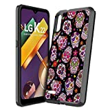 Moriko Case Compatible with LG K22 [Cute Fusion Gel Slim Fit Heavy Duty Men Women Girly Design Protective Black Case Phone Cover] for LG K22+ Plus Boost Mobile Android (Sugar Skulls Sweet)