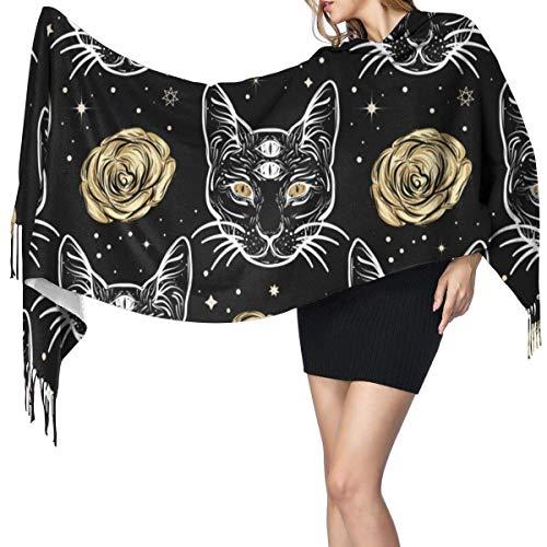 Bufanda de mantón Mujer Chales para, Gato de cuatro ojos y rosas en estilo de arte del tatuaje Bufanda de cachemir Bufanda estampada Bufanda larga de moda para regalo navideño 77 y veces; 27 pulgadas