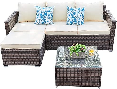 Best Outdoor Sectional Furniture Sofa Set 3 Piece All-Weather Brown Wicker Furniture, Beige Seat Cushions
