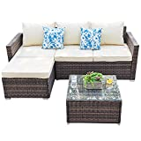 Outdoor Sectional Furniture Sofa Set 3 Piece All-Weather Brown Wicker Furniture, Beige Seat Cushions & Glass Coffee...