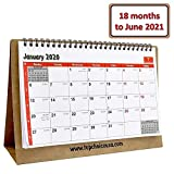 "Small 2020 Desk Calendar 10x7"" Red, Monthly Flip Stand Up Planner Notepad Book for Desktop, Countertop, Office, Cubicle, Classroom, Home, School, Dorm, Sturdy 18 Months Use Jan 2020 to Jun 2021"