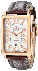 Gevril Men's 5100A 'Avenue of America' Rose Gold-Tone Watch with Brown Leather Strap image