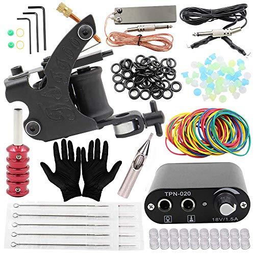 Kit de tatouage - Kit complet de machine à tatouer Kit d'alimentation électrique de tatouage Aiguilles de...