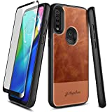 E-Began Moto G Power Case with Tempered Glass Screen Protector (Full Coverage), Premium Cowhide Leather Hybrid Defender Shockproof Rugged Durable Phone Case for Motorola G Power (2020 Release) -Brown