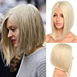 12' Medium Straight Bob Wig Middle Part No Bangs Heat Resistant Synthetic Hair 613 Bleach Blonde Lob Full Wig For Women Anime Cosplay Party Costume